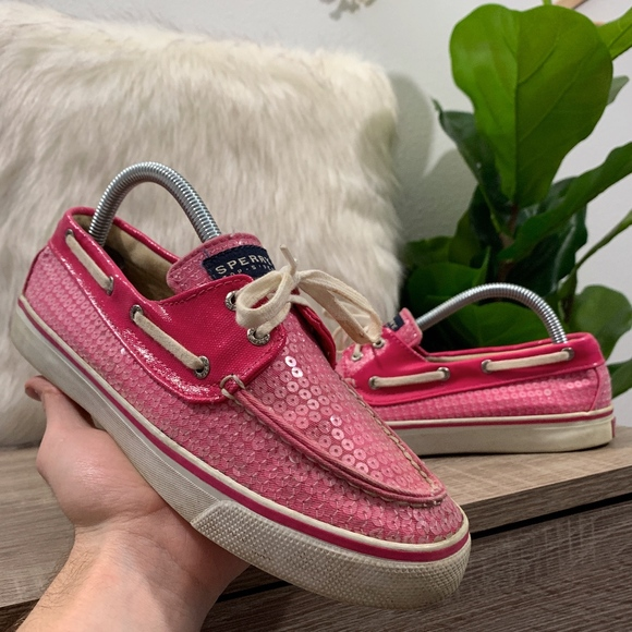 Sperry Top Sider Pink Sequins Bahama Boat Shoes